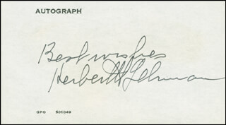 GOVERNOR HERBERT H. LEHMAN - AUTOGRAPH SENTIMENT SIGNED