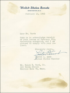 LESTER C. HUNT - TYPED LETTER SIGNED 02/13/1952