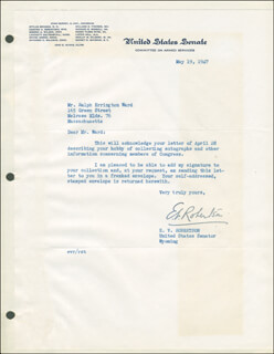 EDWARD V. ROBERTSON - TYPED LETTER SIGNED 05/19/1947