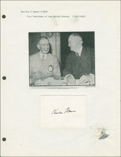 Autographs: VICE PRESIDENT CHARLES G. DAWES - SIGNATURE(S)
