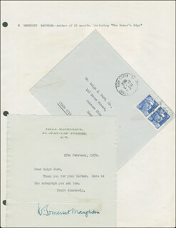W. SOMERSET MAUGHAM - TYPED LETTER SIGNED 02/25/1952