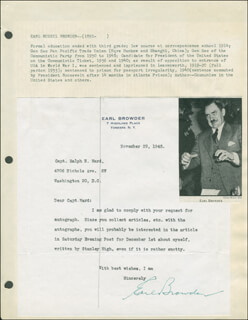 Autographs: EARL BROWDER - TYPED LETTER SIGNED 11/29/1945