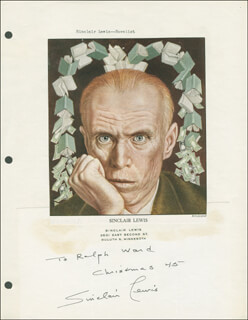 SINCLAIR LEWIS - AUTOGRAPH NOTE SIGNED 12/25/1945