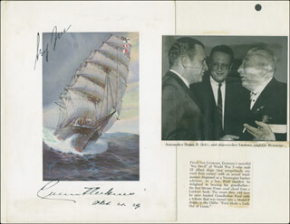 Autographs: GRAF FELIX VON SEA DEVIL LUCKNER - PRINTED ART SIGNED 04/04/1929