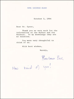 Autographs: FIRST LADY BARBARA BUSH - TYPED LETTER SIGNED 10/05/1984
