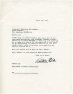 WILLIAM HOLDEN - TYPED LETTER SIGNED 04/14/1955