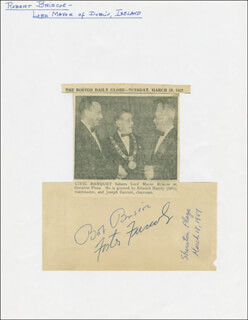 Autographs: MAYOR ROBERT BOB BRISCOE - SIGNATURE(S) CIRCA 1957