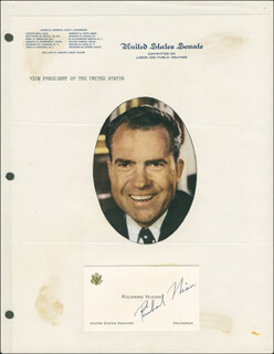 PRESIDENT RICHARD M. NIXON - CALLING CARD SIGNED