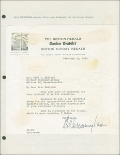 BILL CUNNINGHAM - TYPED LETTER SIGNED 02/14/1949