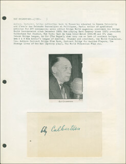 ELY CULBERTSON - AUTOGRAPH