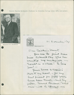 FRANCIS CHARLES MacDONALD - AUTOGRAPH NOTE SIGNED 11/27/1945