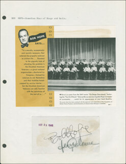 BOB HOPE - AUTOGRAPH CIRCA 1946 CO-SIGNED BY: JERRY COLONNA