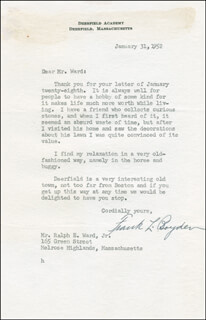 Autographs: FRANK LEAROYD BOYDEN - AUTOGRAPH LETTER SIGNED 01/31/1952
