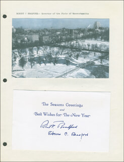 Autographs: GOVERNOR ROBERT F. BRADFORD - CHRISTMAS / HOLIDAY CARD SIGNED CO-SIGNED BY: REBECCA BRADFORD