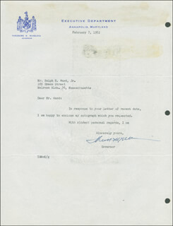 GOVERNOR THEODORE MCKELDIN - TYPED LETTER SIGNED 02/07/1952