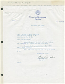 ELLIS ARNALL - TYPED LETTER SIGNED 11/29/1945