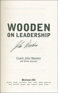 JOHN WOODEN - BOOK SIGNED