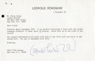 LEOPOLD STOKOWSKI - TYPED LETTER SIGNED 11/05/1969