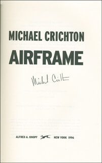 MICHAEL CRICHTON - BOOK SIGNED