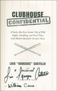 Autographs: LUIS SQUEEGEE CASTILLO - BOOK SIGNED CO-SIGNED BY: WILLIAM CANE