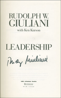 MAYOR RUDOLPH RUDY GIULIANI - BOOK SIGNED
