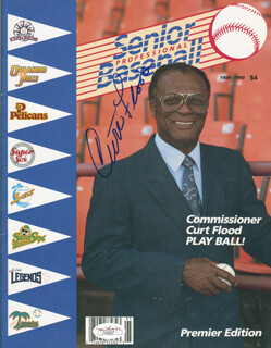 Autographs: CURT FLOOD - PROGRAM SIGNED CO-SIGNED BY: DICK WILLIAMS, MICKEY RIVERS, JUAN EICHELBERGER, WALT NO-NECK WILLIAMS, FELIX THE CAT MILLAN, ROSS GRIMSLEY JR., TOBY HARRAH, GRAIG NETTLES, STEVE ONTIVEROS, ODELL JONES, ALFIO RONDON, CLINT HURDLE, IVAN MURRELL