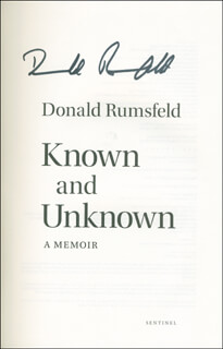 Autographs: DONALD RUMSFELD - BOOK SIGNED