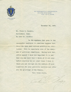 PRESIDENT CALVIN COOLIDGE - TYPED LETTER SIGNED 12/22/1920
