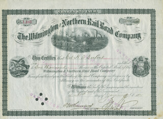 Autographs: HENRY A. du PONT - STOCK CERTIFICATE SIGNED 01/31/1891