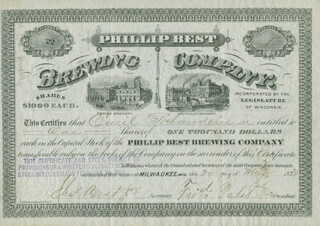 Autographs: FREDERICK PABST - STOCK CERTIFICATE SIGNED 05/20/1873 CO-SIGNED BY: EMIL SCHANDEIN, CHARLES BEST JR.