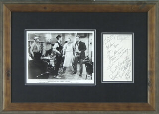 JOHN DUKE WAYNE - AUTOGRAPH NOTE SIGNED 10/23/1976 CO-SIGNED BY: SCOTT CARPENTER, DAN GURNEY, JUNE HAVER, FRED MacMURRAY, MONA FREEMAN, RICARDO MONTALBAN