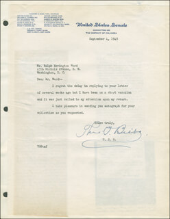 THEODORE G. BILBO - TYPED LETTER SIGNED 09/04/1945