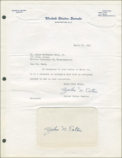 ZALES N. ECTON - TYPED LETTER SIGNED 03/12/1947