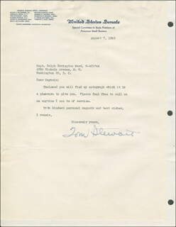 TOM STEWART - TYPED LETTER SIGNED 08/07/1945