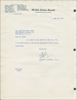WARREN G. MAGNUSON - TYPED LETTER SIGNED 07/30/1945