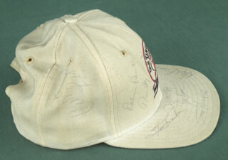 Autographs: CURT FLOOD - HAT SIGNED CO-SIGNED BY: DENNY McLAIN, STEVE BARBER, LOU BROCK, TOMMY HENRICH, DAVE MAY, RALPH HAWK BRANCA, ROBIN ROBERTS