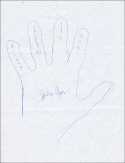 Autographs: JOHN AGAR - HAND/FOOT PRINT OR SKETCH SIGNED 10/27/1996