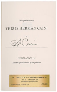 Autographs: HERMAN CAIN - BOOK SIGNED