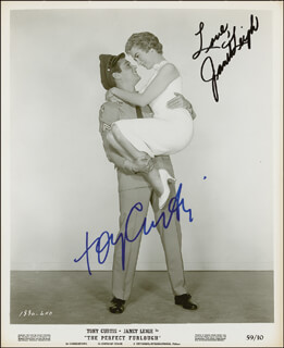 THE PERFECT FURLOUGH MOVIE CAST - PRINTED PHOTOGRAPH SIGNED IN INK CO-SIGNED BY: TONY CURTIS, JANET LEIGH