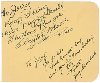 Autographs: LONE RANGER TV CAST - AUTOGRAPH NOTE SIGNED 1950 CO-SIGNED BY: CLAYTON THE LONE RANGER MOORE, JAY TONTO SILVERHEELS