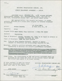 ARTHUR KENNEDY - CONTRACT SIGNED 11/28/1952