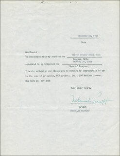 NEHEMIAH PERSOFF - DOCUMENT SIGNED 12/20/1957