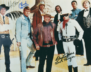 CHUCK CONNORS - AUTOGRAPHED SIGNED PHOTOGRAPH CO-SIGNED BY: HUGH O'BRIAN, CLAYTON THE LONE RANGER MOORE