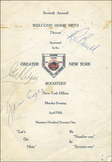 Autographs: THE NEW YORK METS - PROGRAM SIGNED CIRCA 1971 CO-SIGNED BY: KEN BOSWELL, GIL HODGES, TOMMIE AGEE