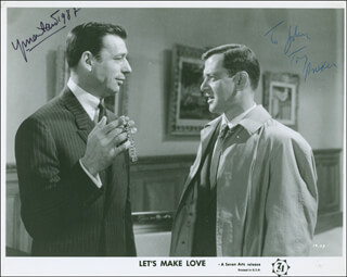 LET'S MAKE LOVE MOVIE CAST - INSCRIBED PRINTED PHOTOGRAPH SIGNED IN INK 1987 CO-SIGNED BY: YVES MONTAND, TONY RANDALL