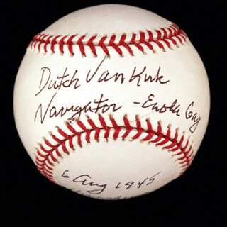 Autographs: ENOLA GAY CREW (THEODORE VAN KIRK) - ANNOTATED BASEBALL SIGNED