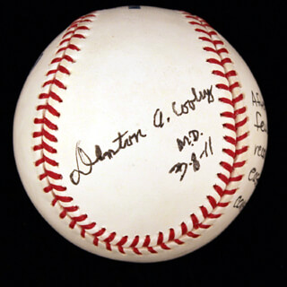 DR. DENTON A. COOLEY - ANNOTATED BASEBALL SIGNED 03/08/2011