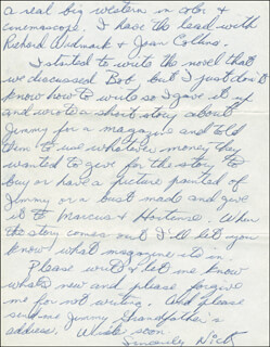 Autographs: NICK THE REBEL ADAMS - AUTOGRAPH LETTER SIGNED 03/28/1956