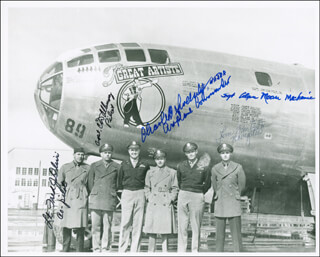 BOCK'S CAR CREW - AUTOGRAPHED SIGNED PHOTOGRAPH CO-SIGNED BY: BOCKSCAR CREW (CHARLES DONALD ALBURY), BOCK'S CAR CREW (FRED OLIVI), BOCKSCAR CREW (MAJOR GENERAL CHARLES W. SWEENEY), BOCK'S CAR CREW (JAMES F. VANPELT), BOCK'S CAR CREW (ALAN MOORE)