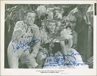 CARNIVAL IN COSTA RICA MOVIE CAST - AUTOGRAPHED SIGNED PHOTOGRAPH CO-SIGNED BY: DICK HAYMES, CELESTE HOLM